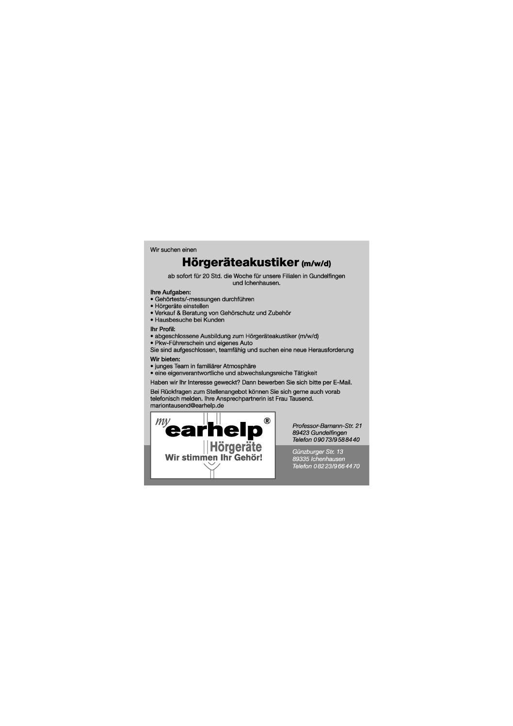 earhelp Hörgeräte sucht einen neuen Mitarbeiter (m/w/d)